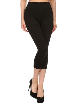 Black Seamless Capri Womens Leggings
