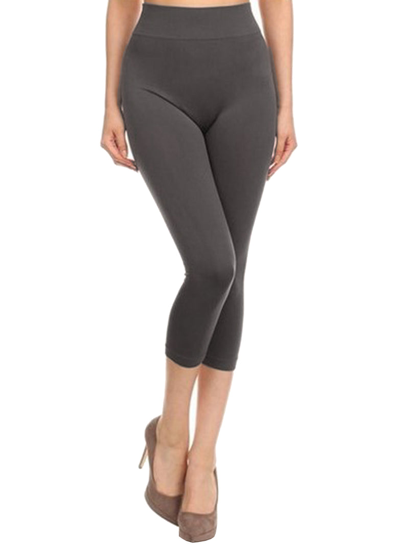 Gray Seamless Capri Womens Leggings