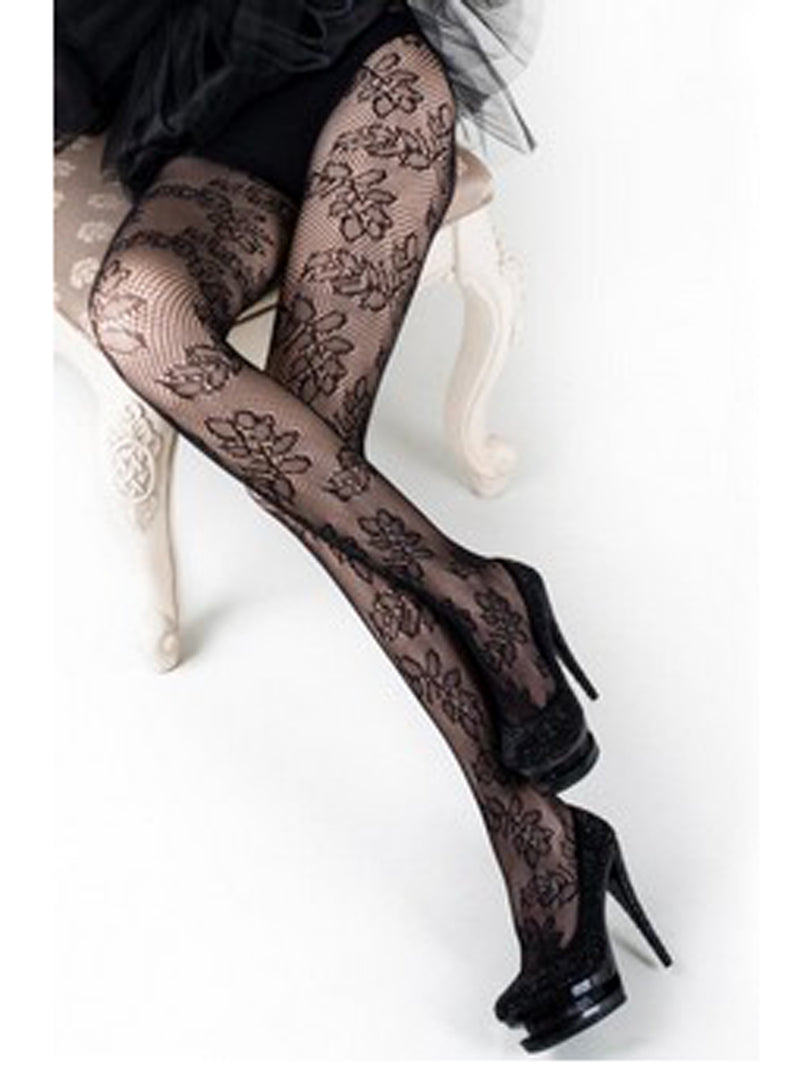 Leaf Pattern Fishnet Tights