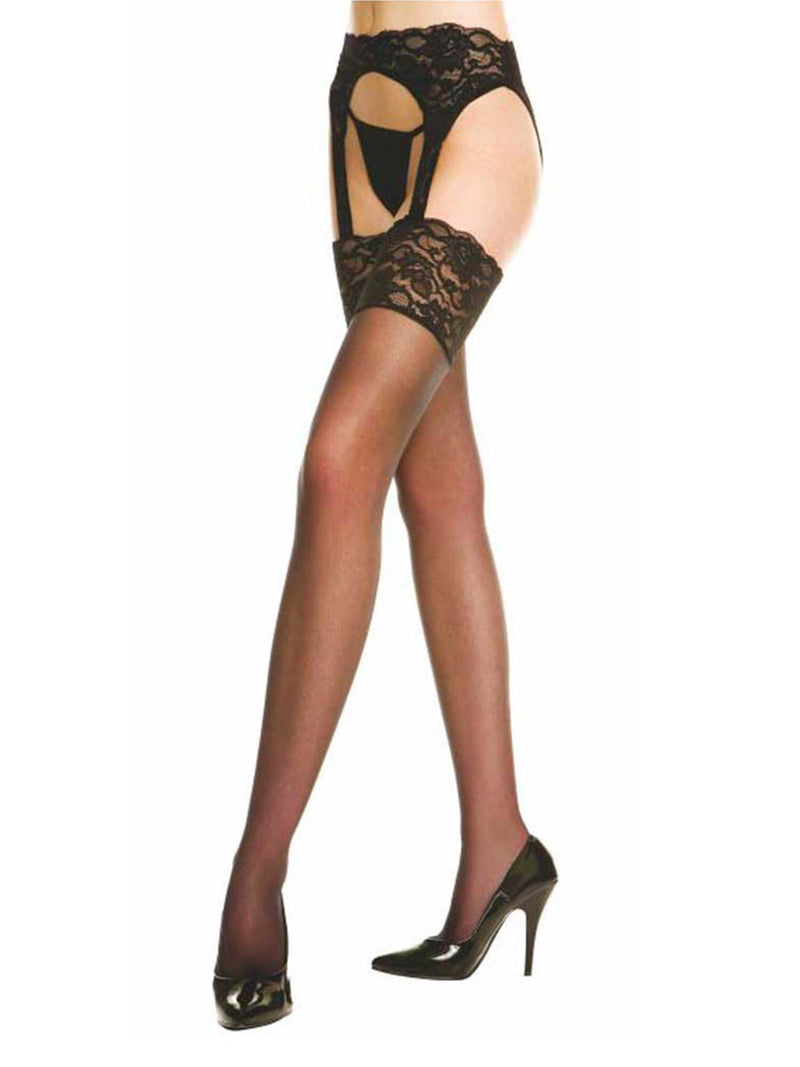 Lace Back Seam Garter Belt Thigh High Stockings