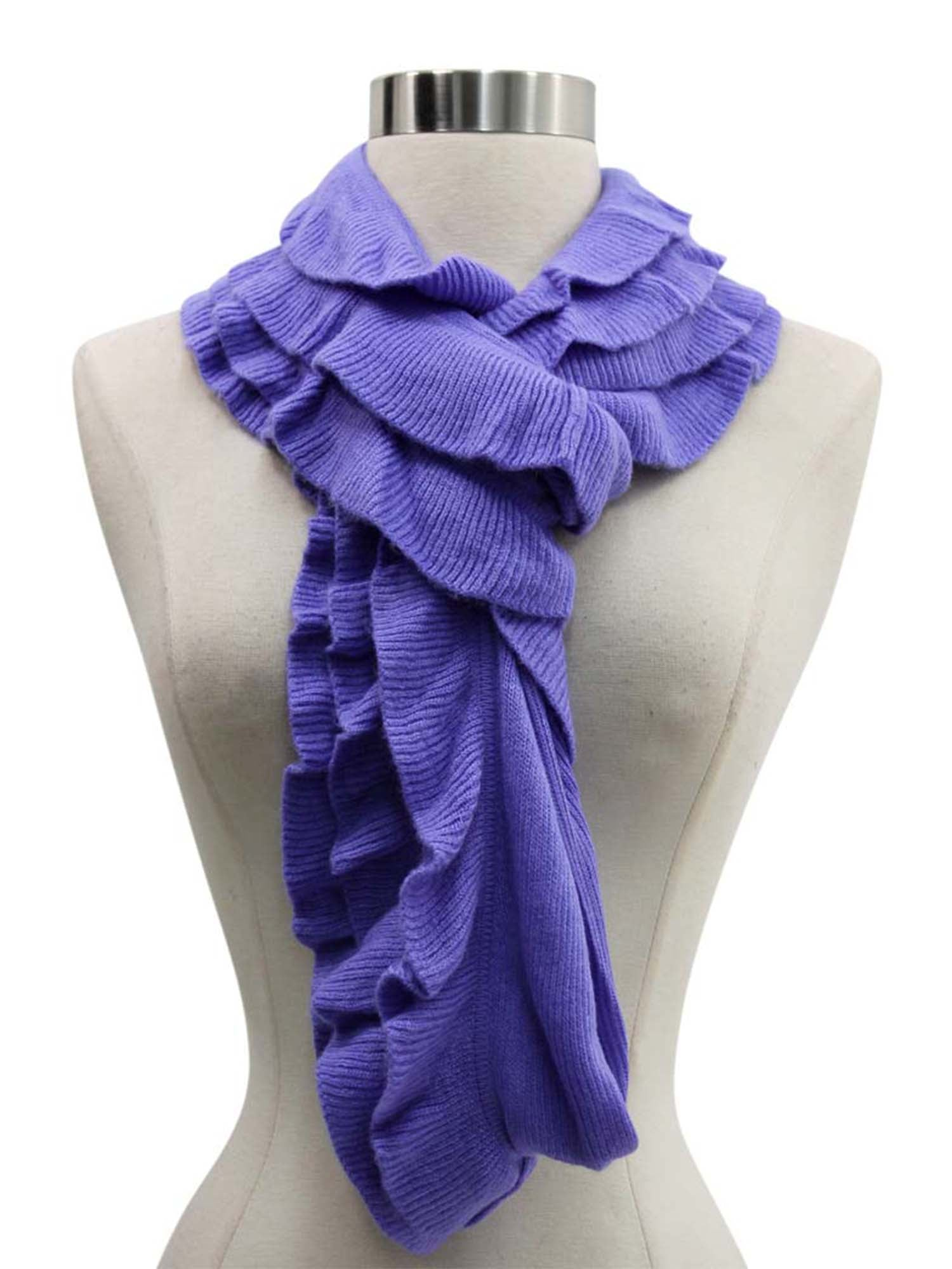 Feminine Ruffled Knit Winter Infinity Scarf