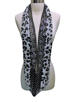 Leopard Print Infinity Scarf With Rhinestone Design