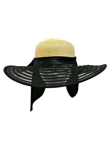 Wheat & Black Wide Brim Floppy Hat Large With Satin Bow