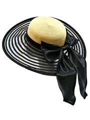 Wide Brim Floppy Hat Large With Satin Bow
