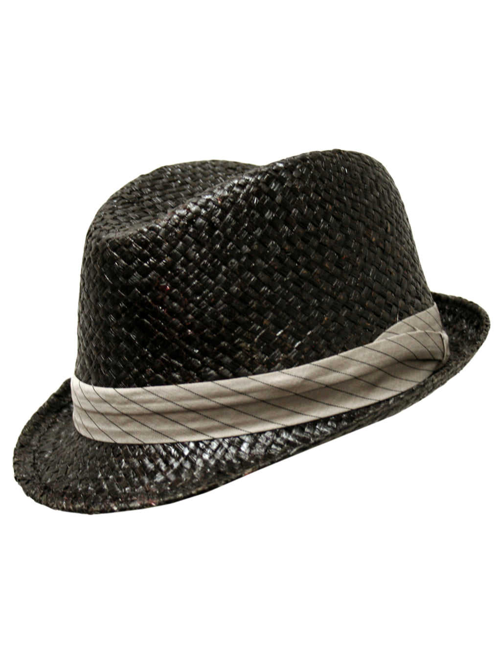 Black Woven Fedora Hat With Pinstriped Hat Band