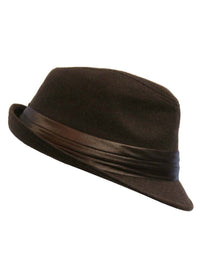 Brown Structured Wool Fedora Hat With Satin Hat Band