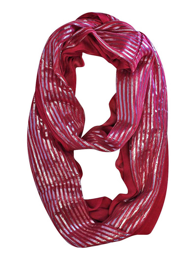 Summer Infinity Scarf With Metallic Stripes
