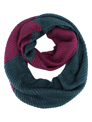 Two-Tone Ribbed Knit Infinity Scarf