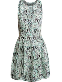 Mint Green & Black Floral Pattern Sleeveless Dress