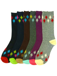 Diamond Pattern Womens Multicolor 6 Pack Crew Socks