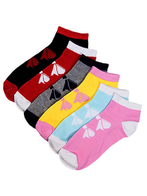6-Pack Adorable Ribbon Print Assorted Multicolor Ankle Socks