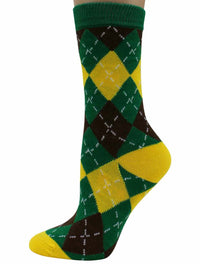 Colorful Funky Argyle Print 6 Pack Assorted Womens Socks