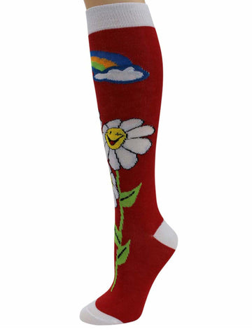 Daisies & Rainbows Crazy 6-Pack Womens Knee High Socks
