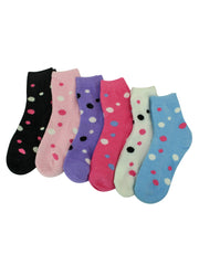Polka Dot 6 Pack Crew Length Fuzzy Socks