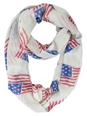 American Flag Print Use Lightweight Infinity Scarf