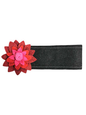 Black Wool Headband With Large Two-Tone Flower
