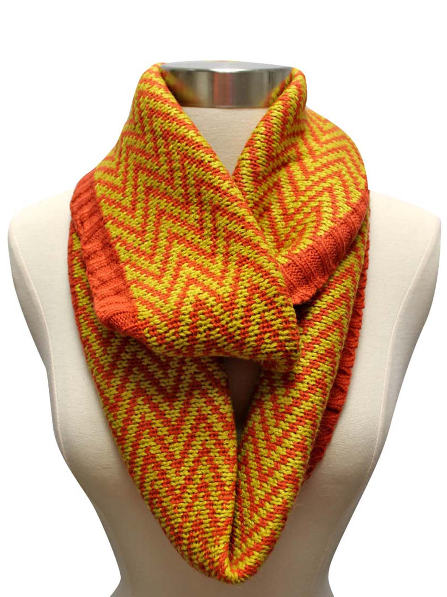 Chevron Pattern Knit Circle Infinity Scarf