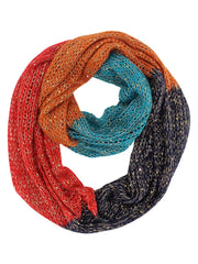 Color Block Winter Knit Infinity Scarf With Sequins