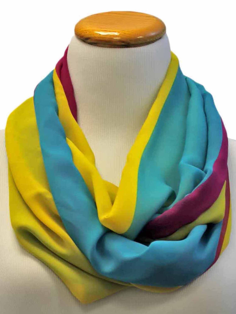 Blue Magenta Yellow Tri-Color Summer Scarf