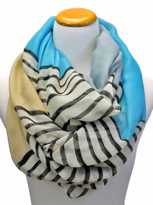 Color Block Striped Infinity Scarf