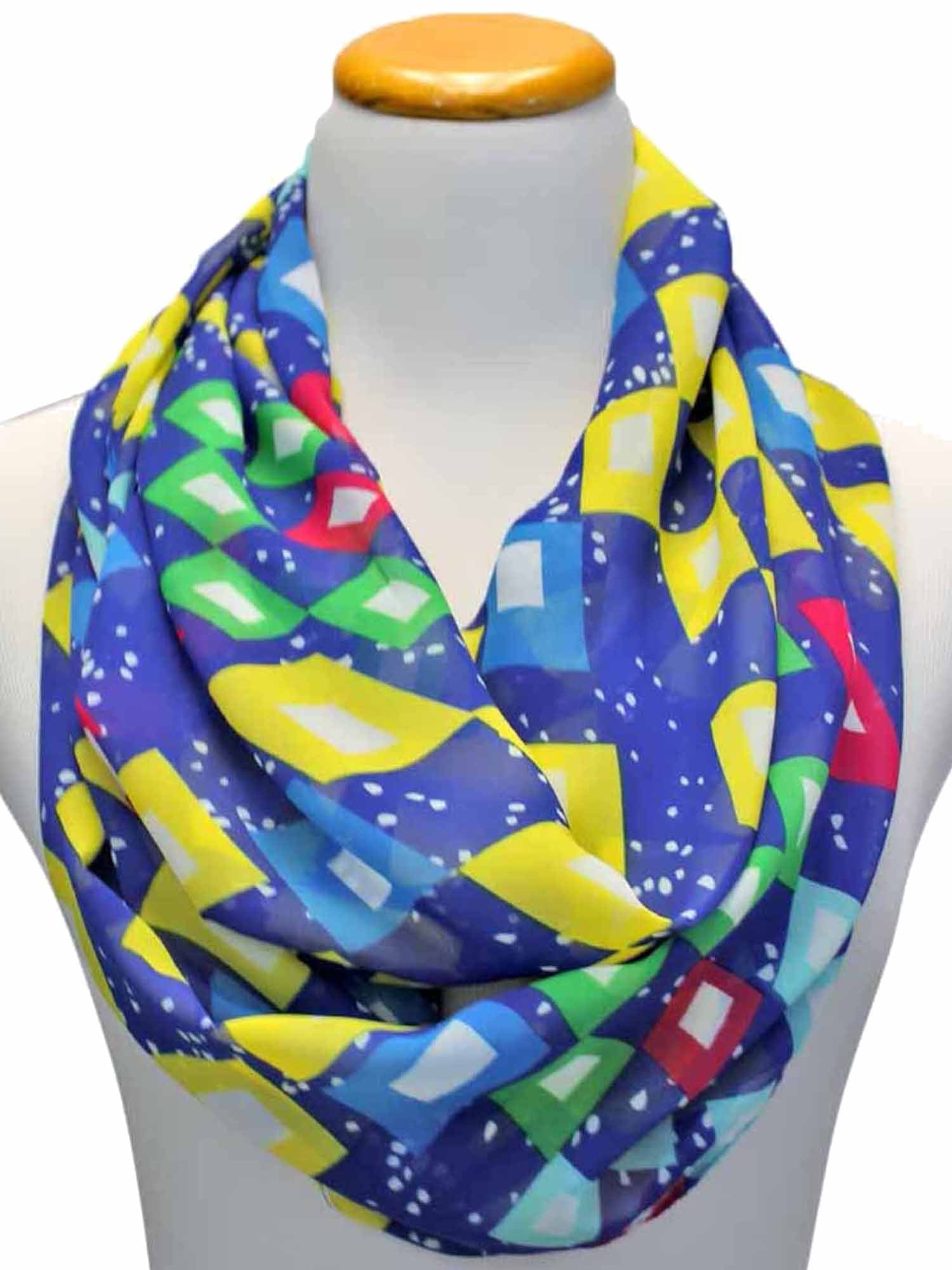 Blue Geometric Pattern Ring Scarf