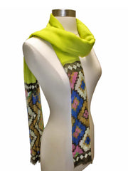Lime Green Tribal Aztec Pattern Scarf