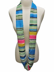 Blue Multicolor Pastel Striped Infinity Scarf