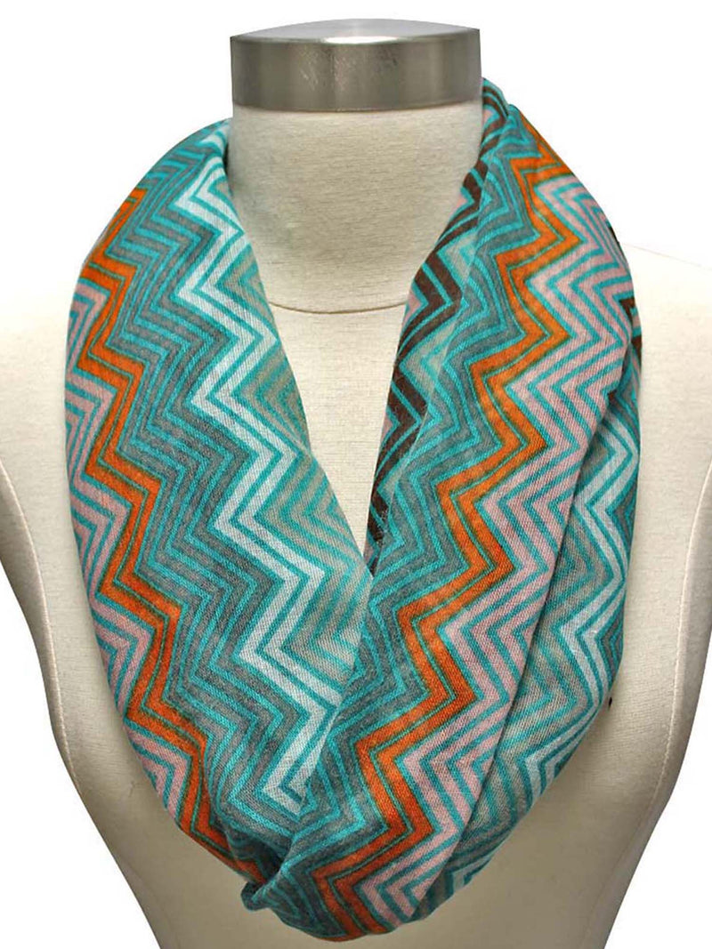 Mint Orange Brown Tribal Print Ring Scarf