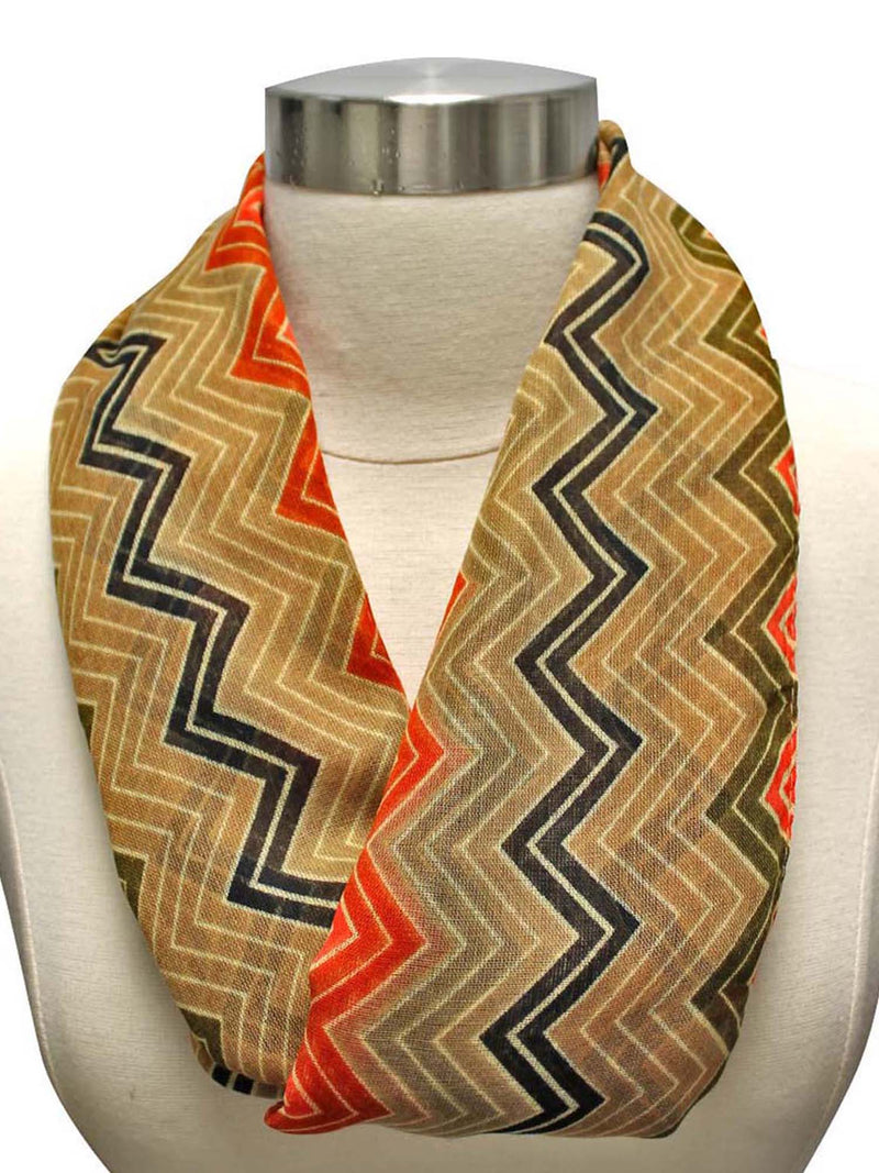 Coral Brown Beige Tribal Print Ring Scarf