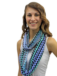 Multi-Tone Chevron Striped Zigzag Pattern Infinity Scarf