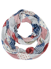 Blue Red & Beige Nautical & Patriotic Lightweight Circle Scarf