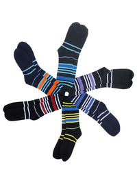 Colorful Striped Mens Assorted 6 Pack Crew Socks