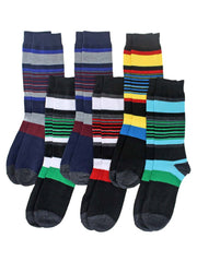 Colorful Bold Striped Mens Assorted 6 Pack Crew Socks