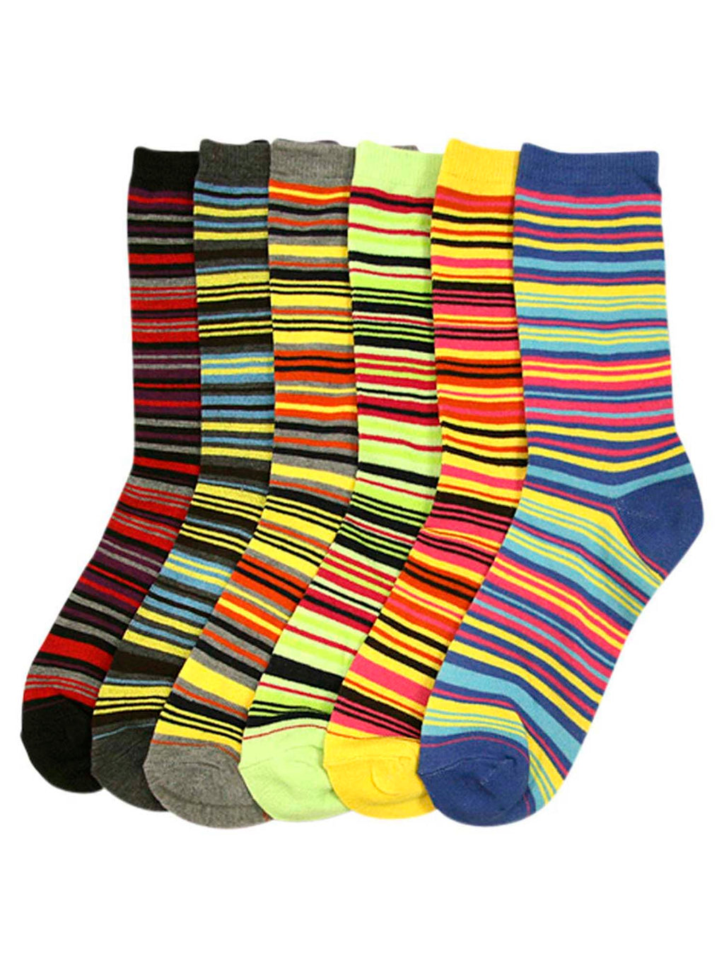 Multicolor Bright Striped Womens 6 Pack Assorted Crew Socks
