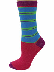 Colorful & Bright Stripe Womens 6 Pack Novelty Socks