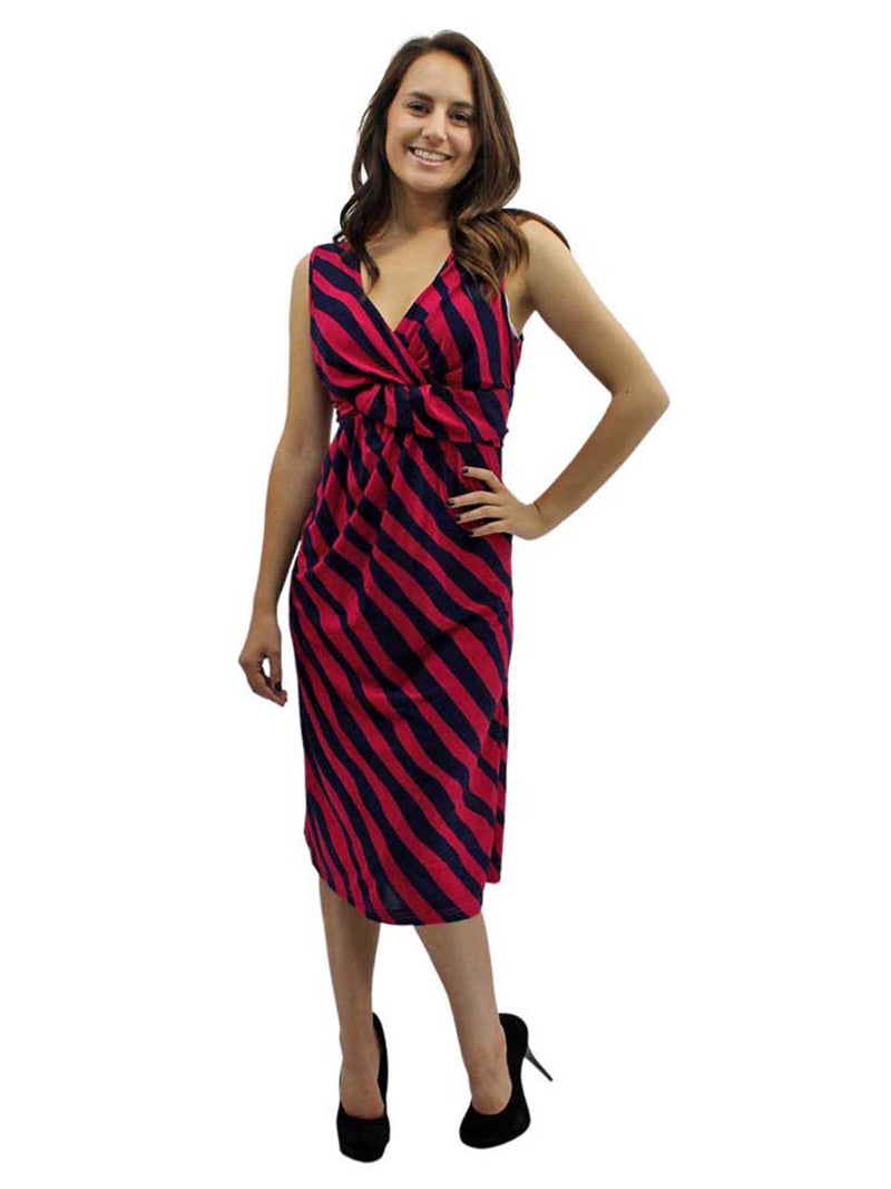 V-Neck Knotted Striped Sleeveless Midi Dress