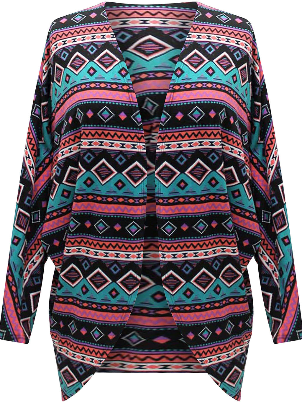 Draped Front Multicolor Bat Sleeve Shrug Jacket