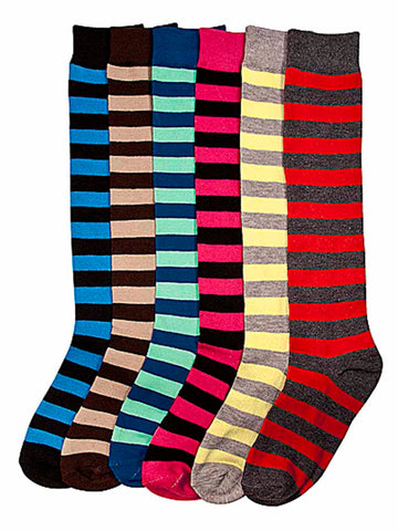 Fun Striped Multicolor Assorted 6-Pack Knee High Socks