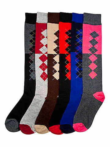 Micro Argyle Print Assorted Multicolor 6-Pack Knee High Socks