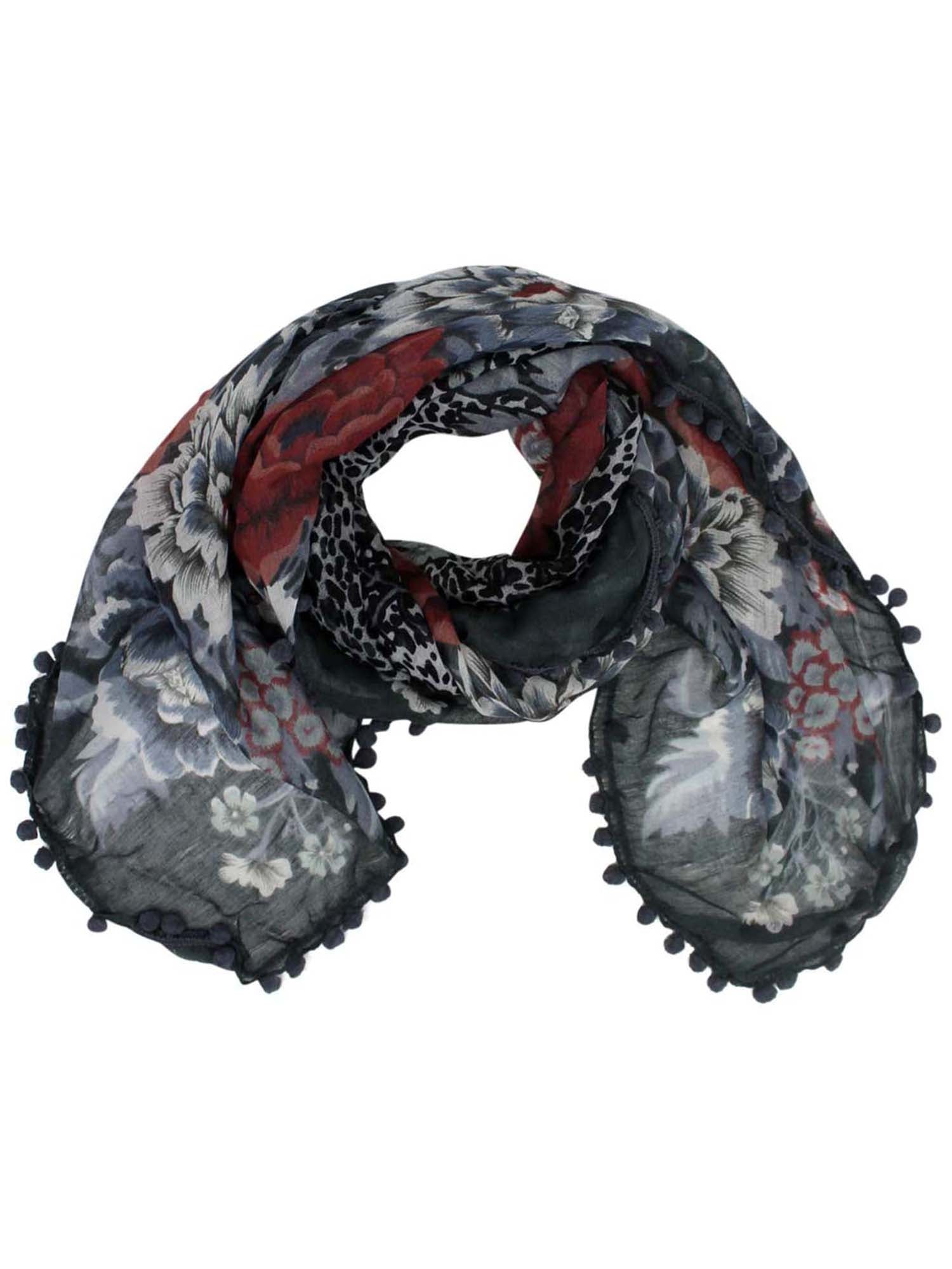 Grey Multicolor Floral Square Scarf With Pom-Pom Trim
