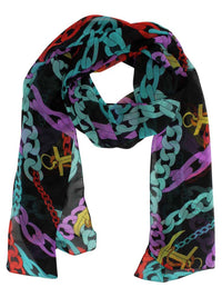 Black Anchor Chain Print Sheer Scarf Wrap
