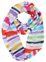Lavender Red Tan & Blue Striped Circle Scarf