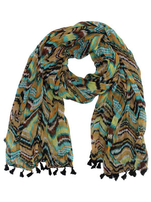 Multicolor Retro Print Striped Scarf