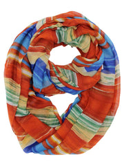 Multicolor Stripe Print Infinity Scarf