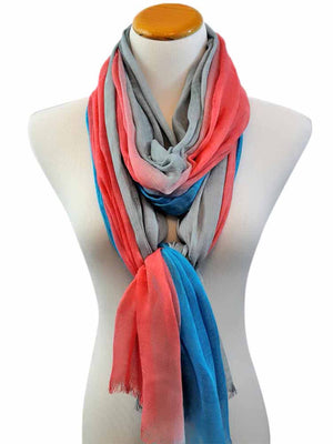 Turquoise Pink & Grey Dip Dyed Ombre Scarf