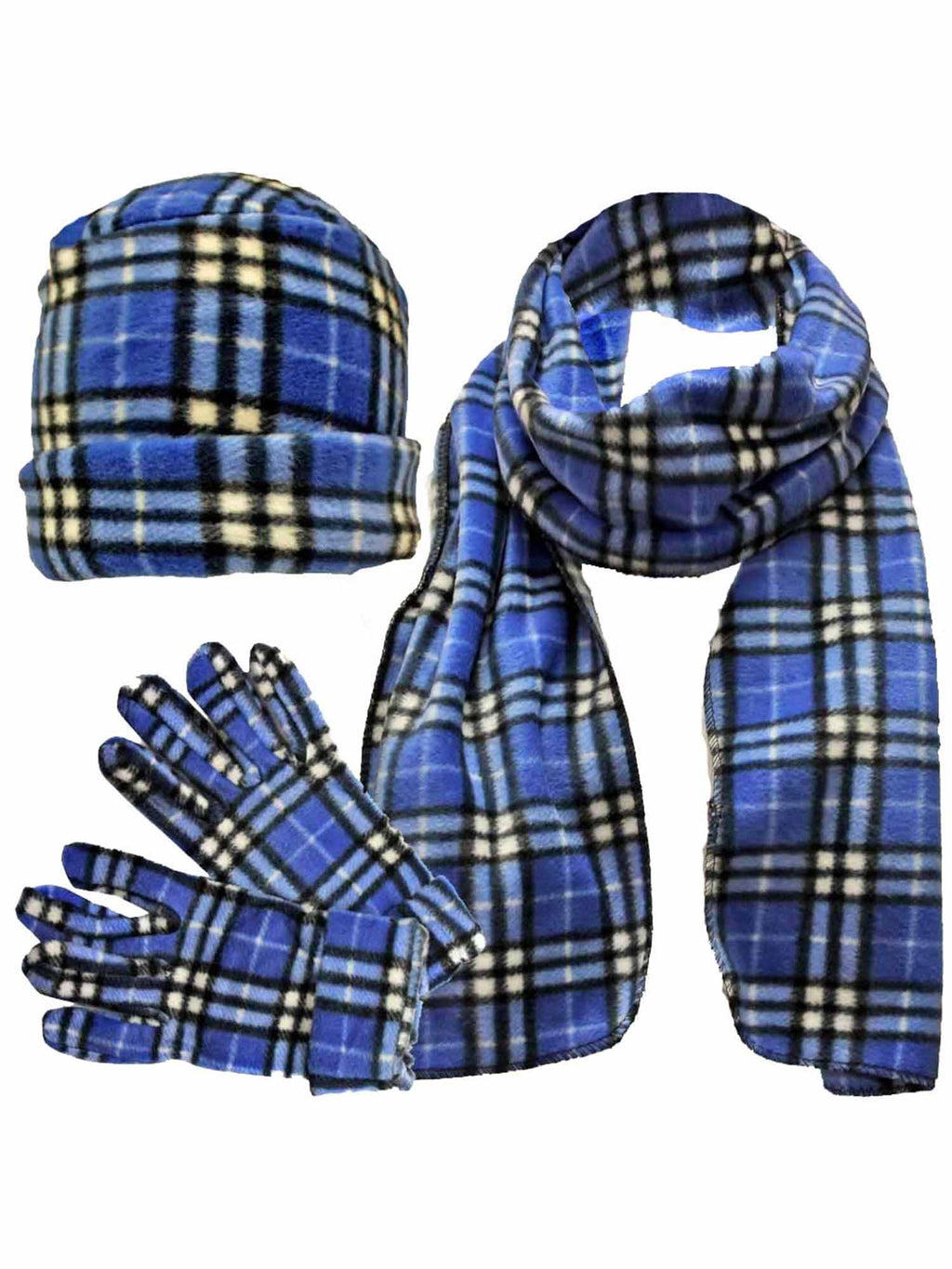 Blue & White Plaid Fleece 3 Piece Hat Scarf & Glove Set
