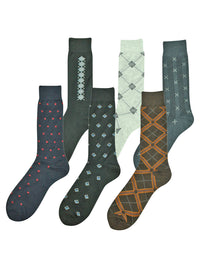 Mens Assorted Design 6 Pack Crew Length Dress Socks