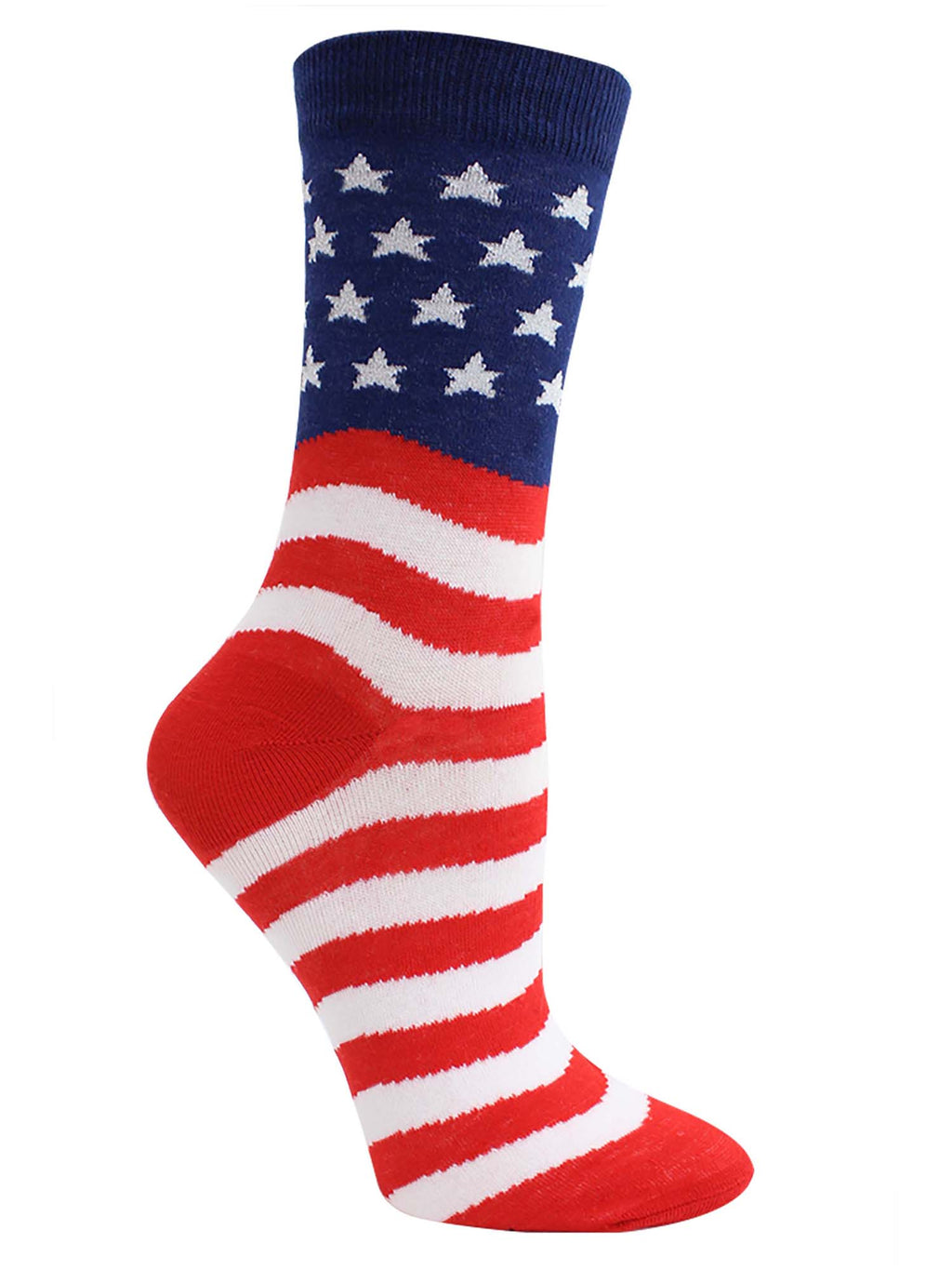 Red White & Blue Patriotic American Flag Womens Crew Socks