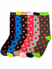 Colorful Polka Dot Print Womens 6 Pack Socks