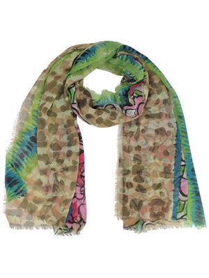 Sheer Multicolor Rose Print Scarf Shawl